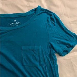 Teal American Eagle Soft and Sexy pocket tee
